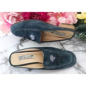Brighton Melani Beaded Floral Leather Mules Flats